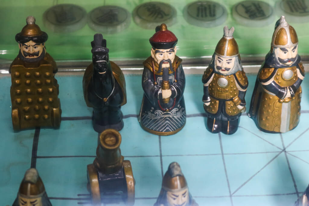Pieces from a traditional Chinese chess set in Zhouzhuang