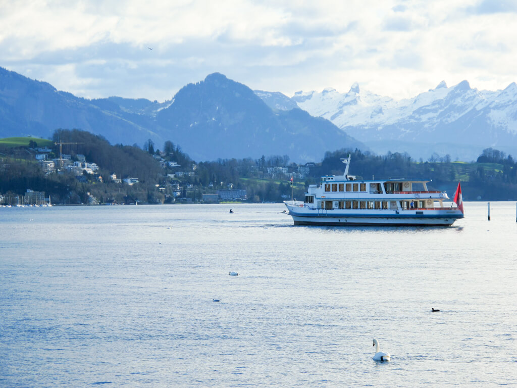 A boat floating on Lake Lucerne