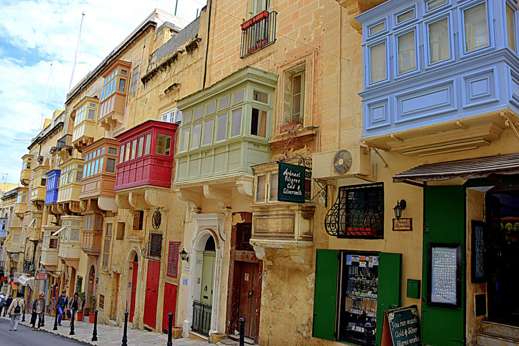 Colourful balconies in Valletta