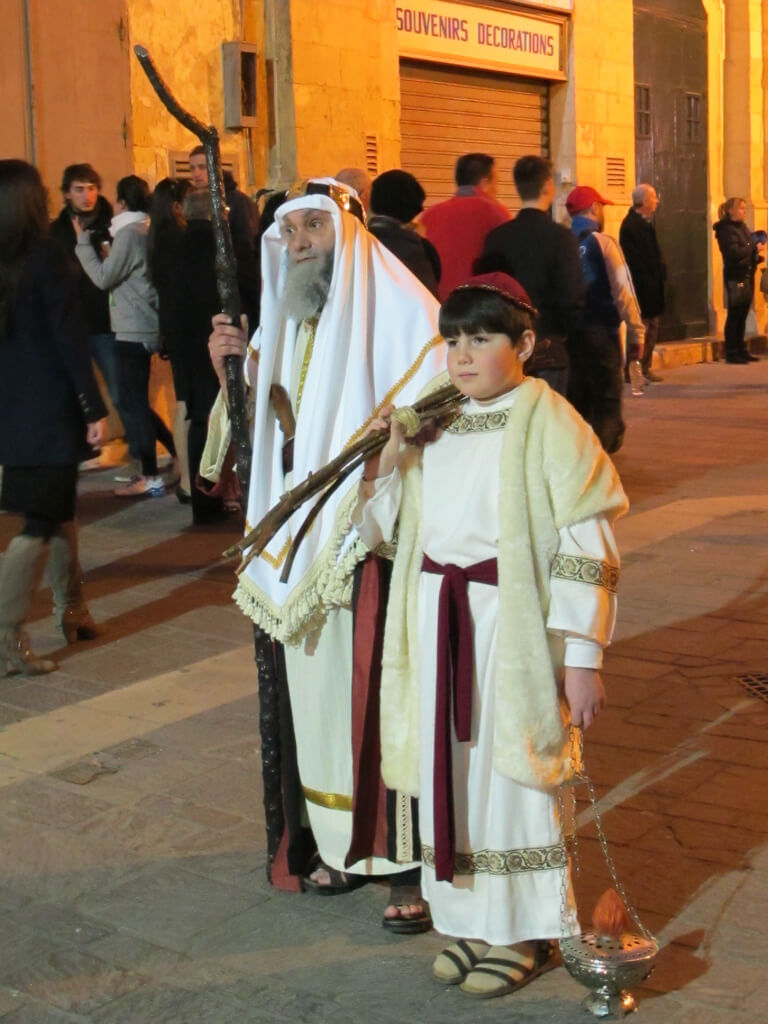 A man and a boy wearing Old Testament costumes in the Easter Procession, Malta
