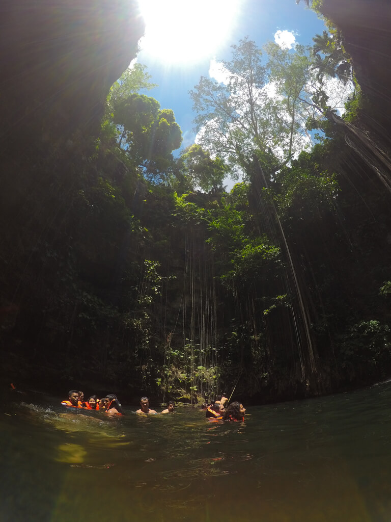 View of Ik Kil Cenote while swimming