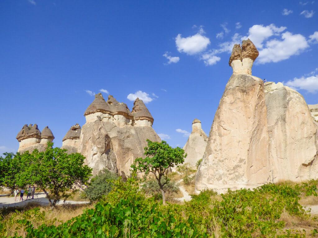 Triple capped mushroom chimneys in Pasabag, Cappadocia, Turkey