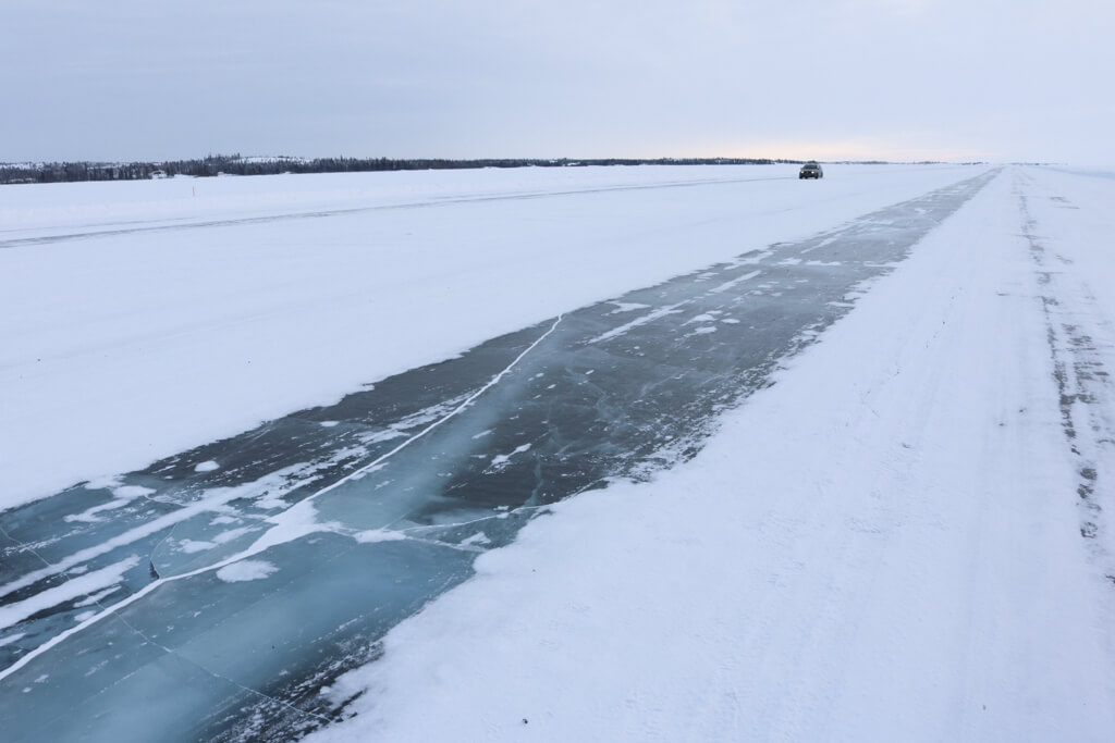 The ice road that connects Yellowknife and Dettah in the Northwest Territories