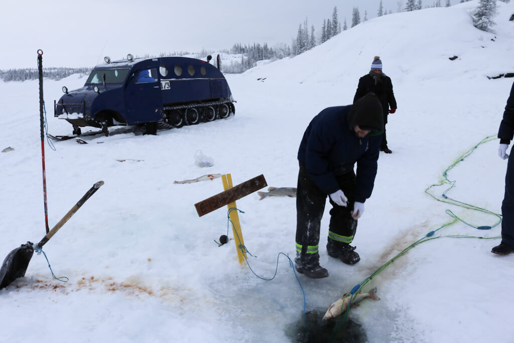 Ice fishing tour in Yellowknife, Northwest Territories, Canada