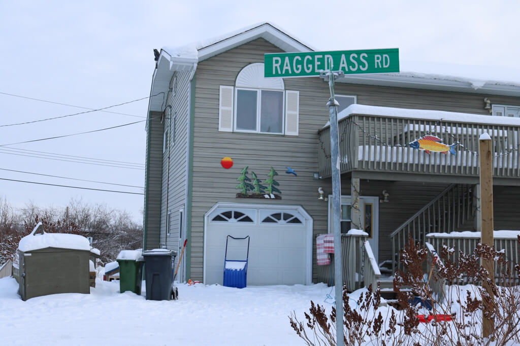 Ragged Ass Road street sign in Yellowknife, Northwest Territories, Canada