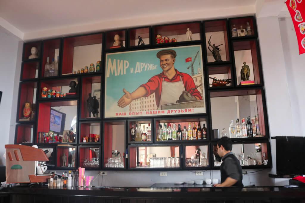 The bar of Nazrovdie Soviet Restaurant in Havana, Cuba