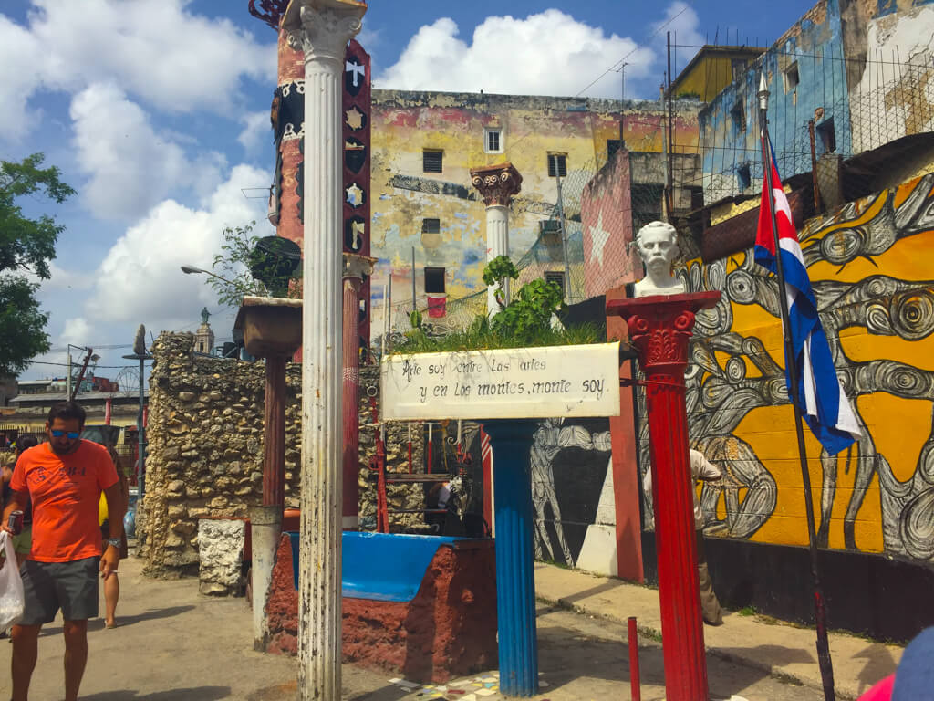 A street full of art and sculptures in Havana, Cuba