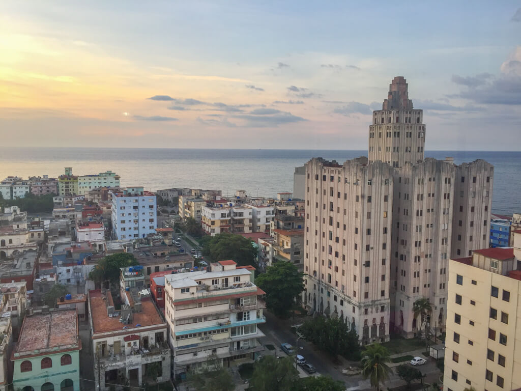 Sunset view from a casa particular in Vedado, Havana