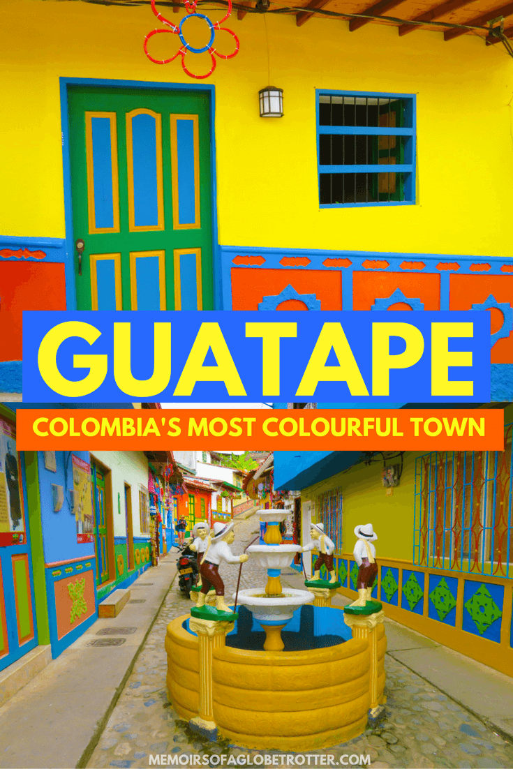 Discover brightly-coloured houses and climb the giant rock (Piedra del Penol) in Guatape, Colombia. It is less than 2 hours from Medellin- the perfect day trip!