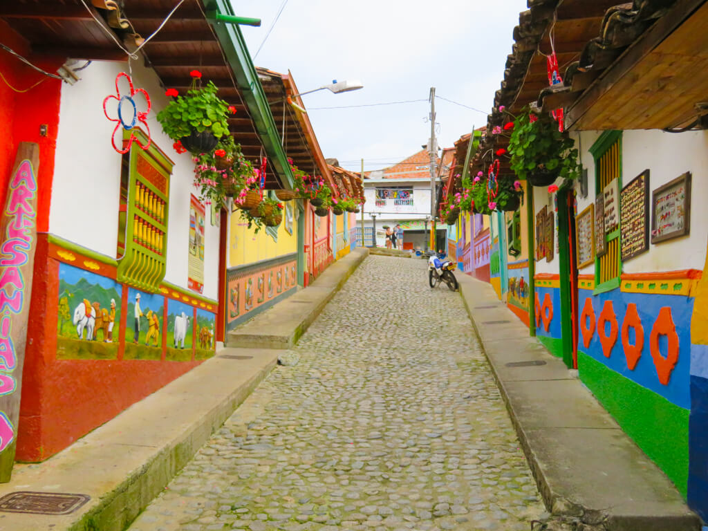 A colourful street in Guatape, Colombia