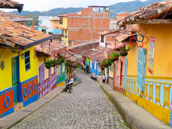 A very colourful street in Guatape, Colombia
