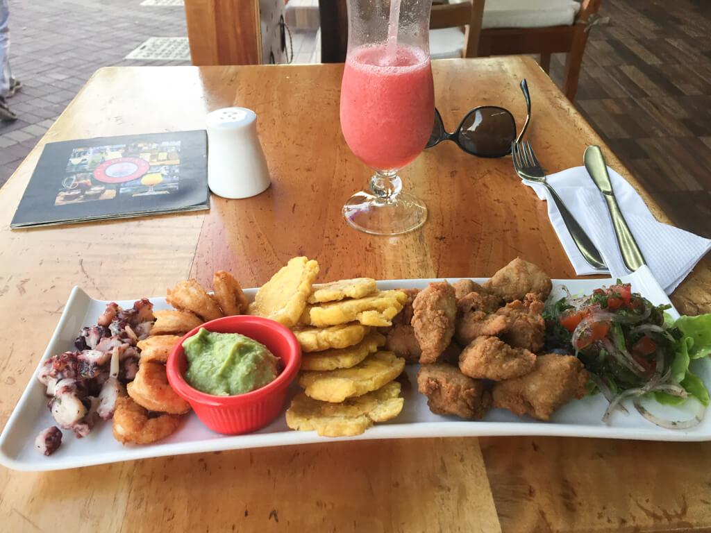 Seafood platter at La Regata Sushi-Grill-Bar in Puerto Ayora, Galapagos