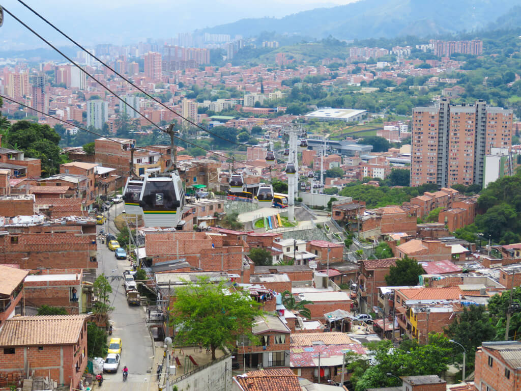 View from a cable car in Medellin, Colombia