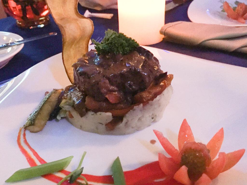 A steak with mushroom sauce at the restaurant at La Mansion Inn in Quepos, Costa Rica.