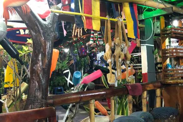Interesting decorations at El Descanso Marinero restaurant on San Cristobal Island