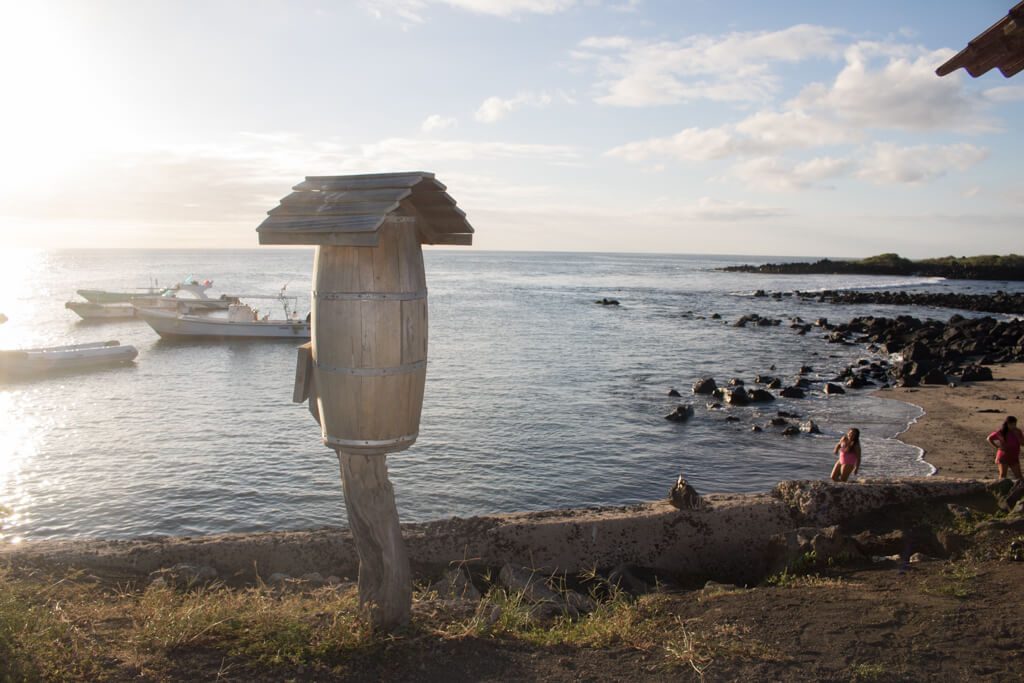 A replica of the famous mailbox stands at the main pier on Floreana Island, Galapagos