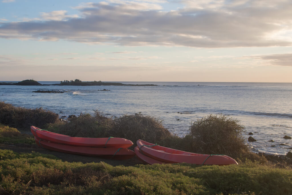 Kayaks lie in front of the ocean on Floreana Island, Galapagos