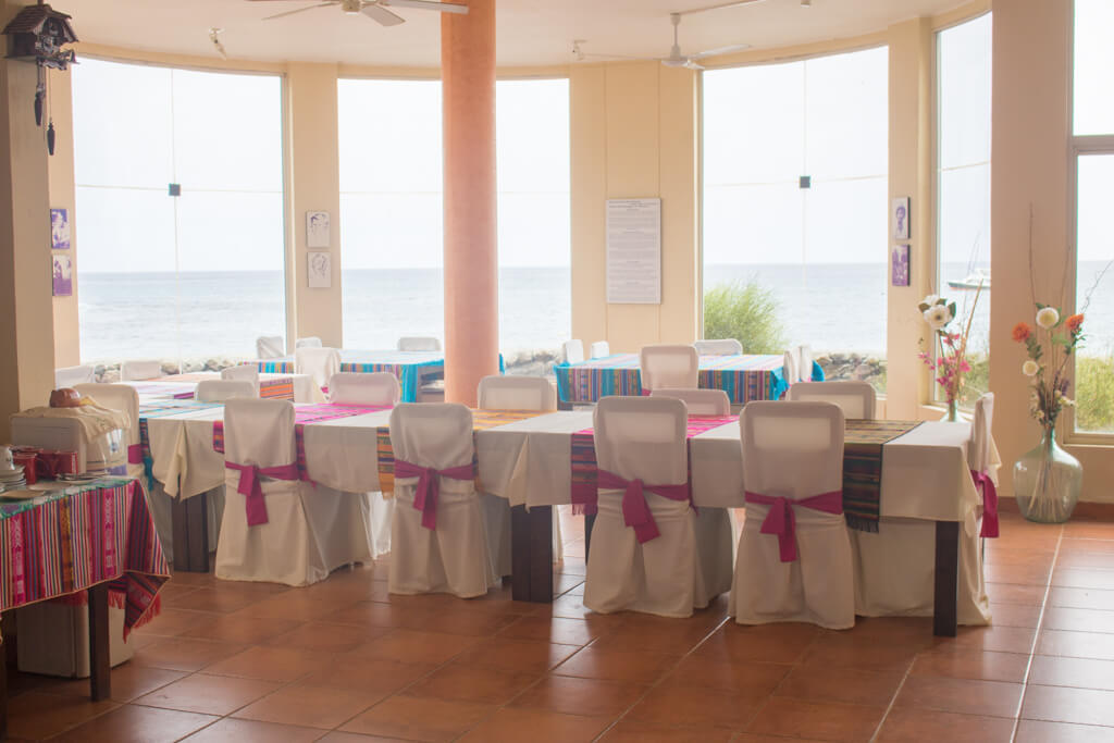 The guest dining room at the Wittmer Lodge on Floreana Island in the Galapagos