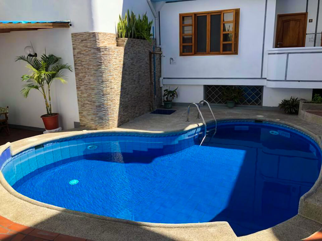 Hotel Santa Fe is a family-run hotel on a quiet street near the trail to Tortuga Bay in Puerto Ayora. It is located on Santa Cruz Island, Galapagos