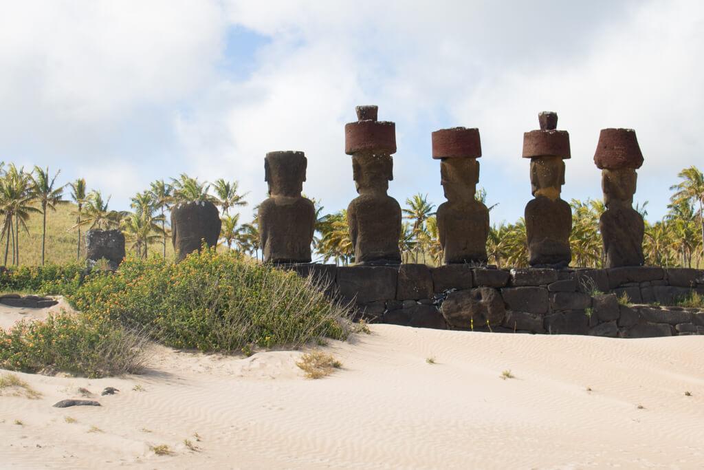On Anakena beach stand four moai with topknots