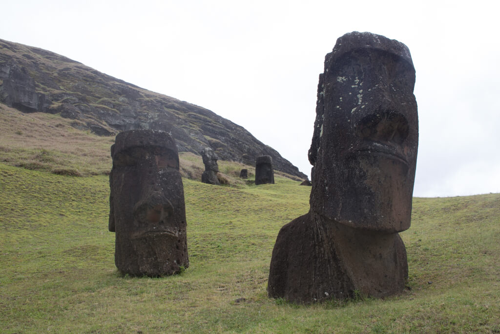 Hinariru Moai is a famous moai that has appeared in travel guides around the world