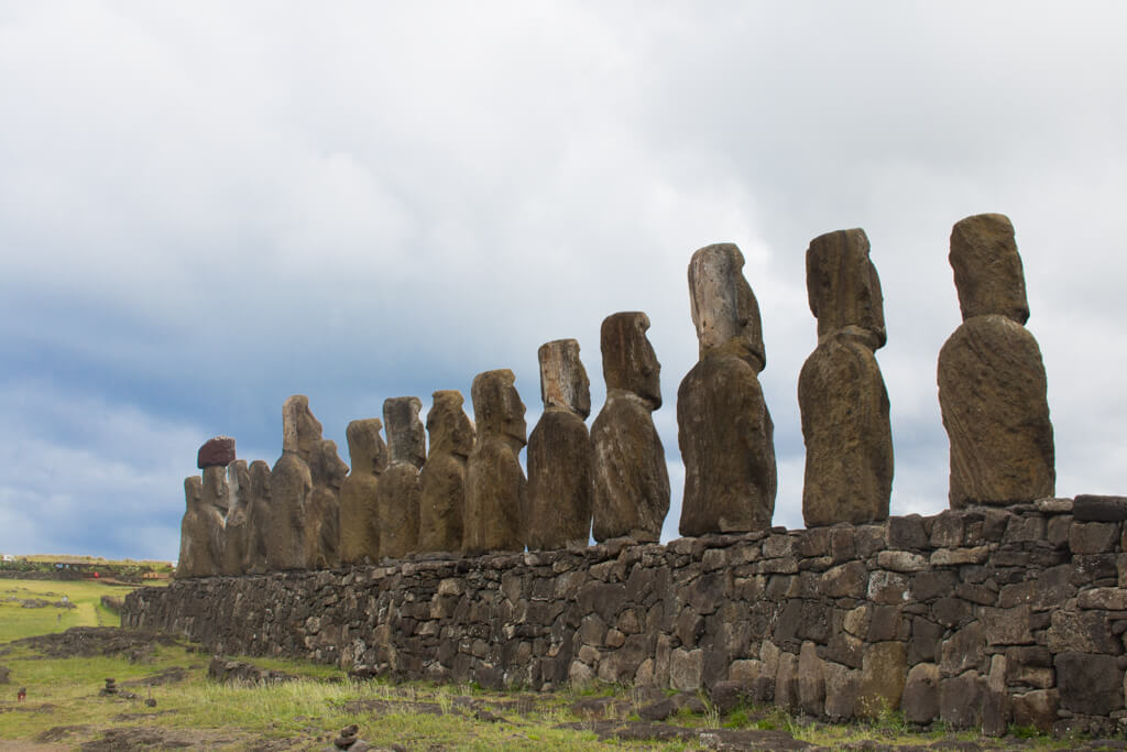 The 15 moai of Ahu Tongariki from the back