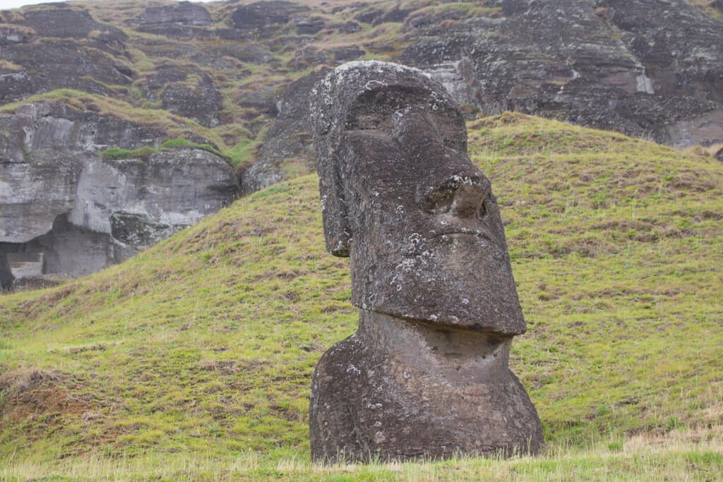 A large moai at Rano Raraku on Easter Island