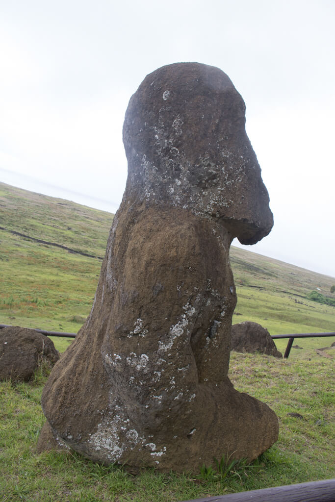 Tukuturi, the only kneeling moai can be found at Rano Raraku on Easter Island