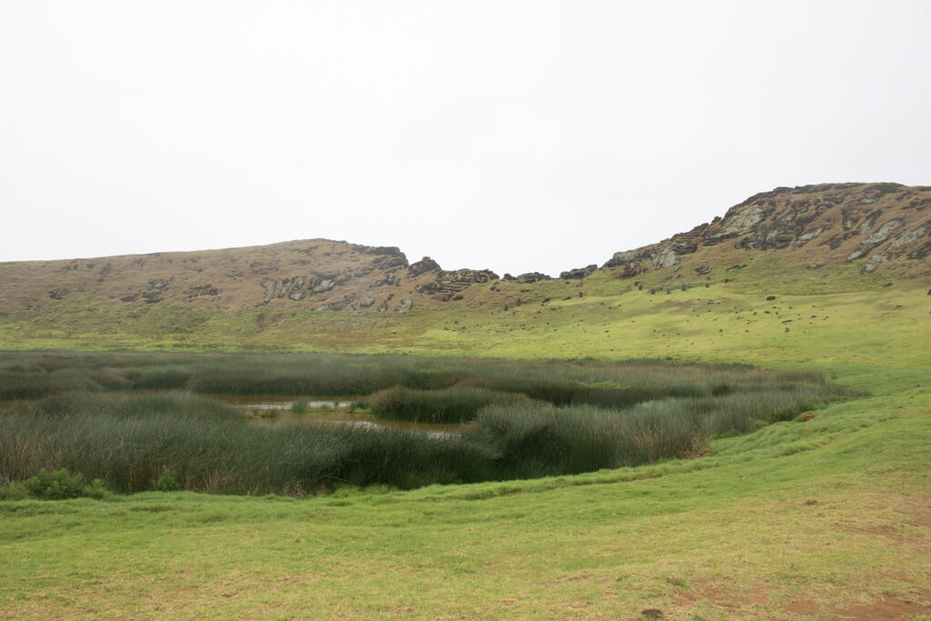A lagoon in the crater of Rano Raraku
