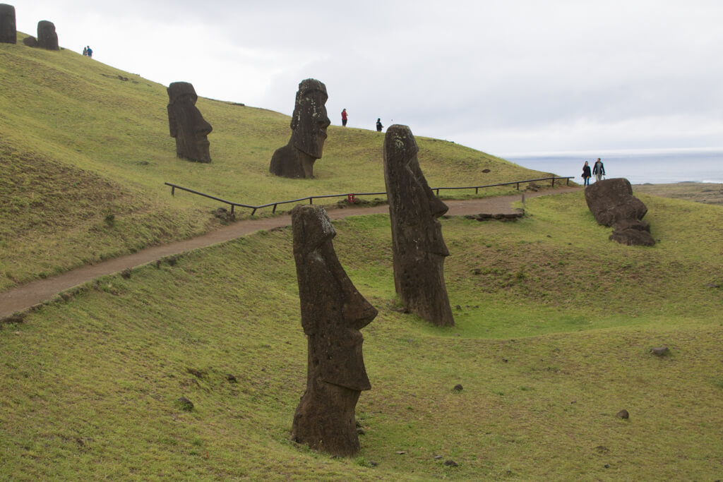 Rano Raraku is where the famous stone heads are located on Easter Island