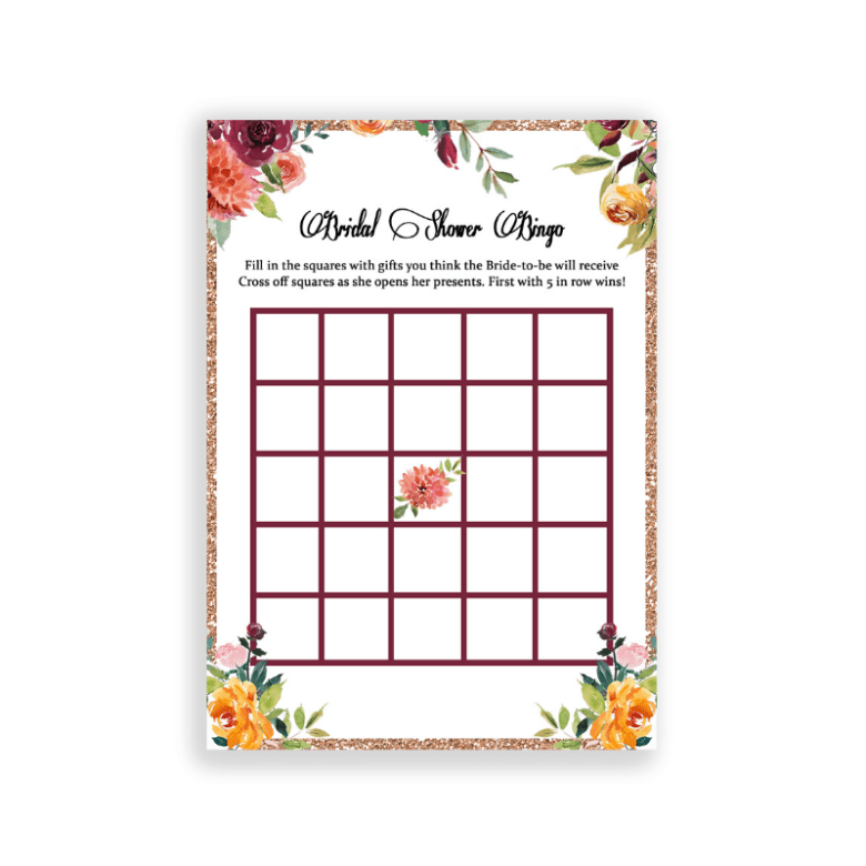 Bridal shower bingo game