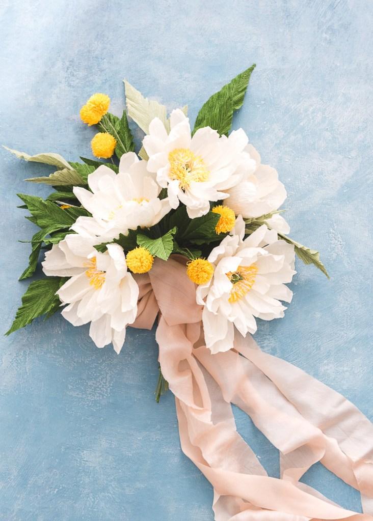 DIY paper flowers wedding bouquet