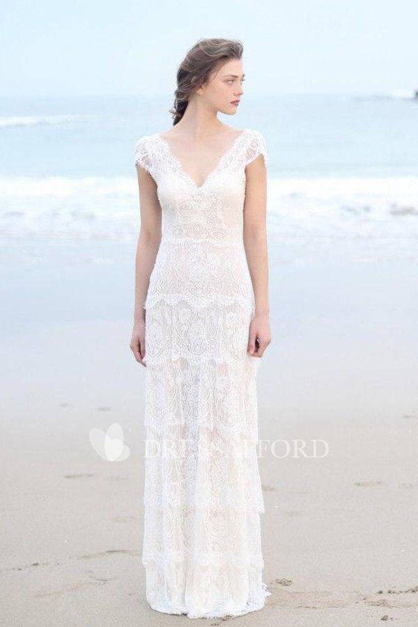Sheath tiered boho wedding gown