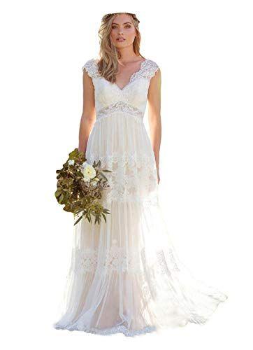 V neck lace bohemian wedding dresses
