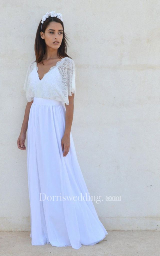 Bohemian V neck lace dress