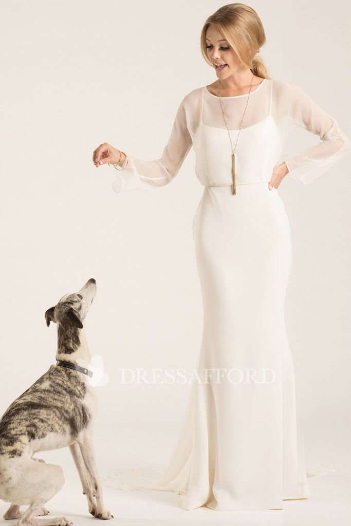 Scoop neck long sleeve sheath dress