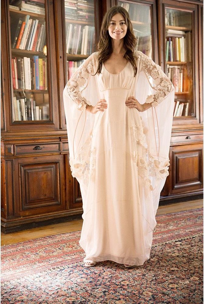 Anita pink silk caftan boho gown
