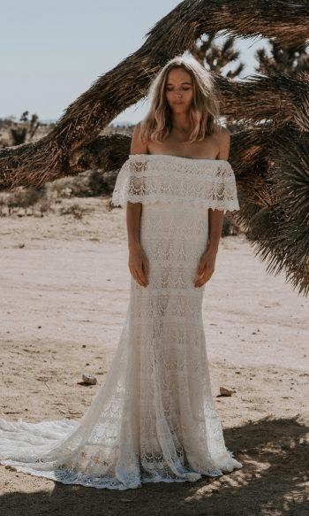Camille crochet off the shoulder wedding dresses