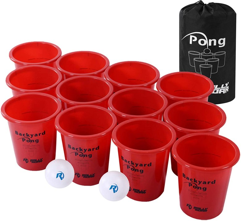 Beer pong set for drinking games