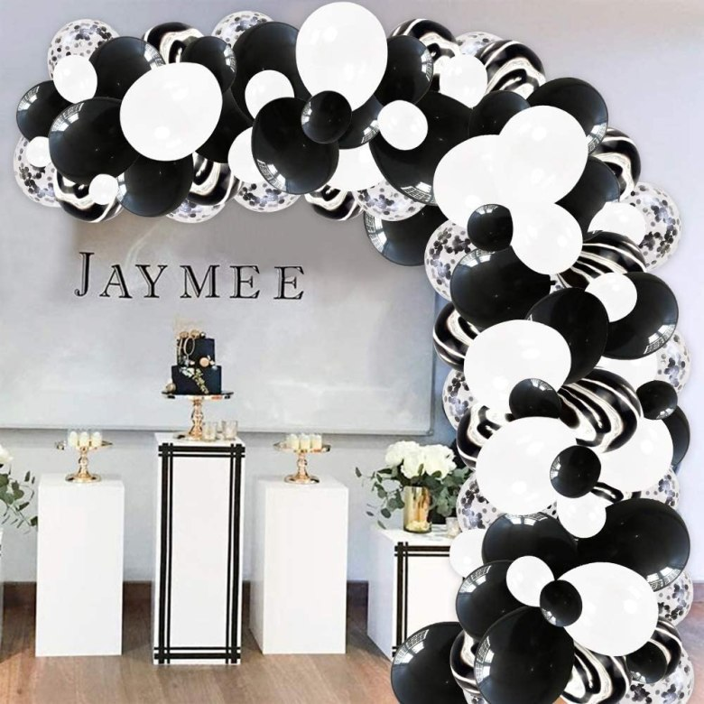 Black and white bridal shower decorations