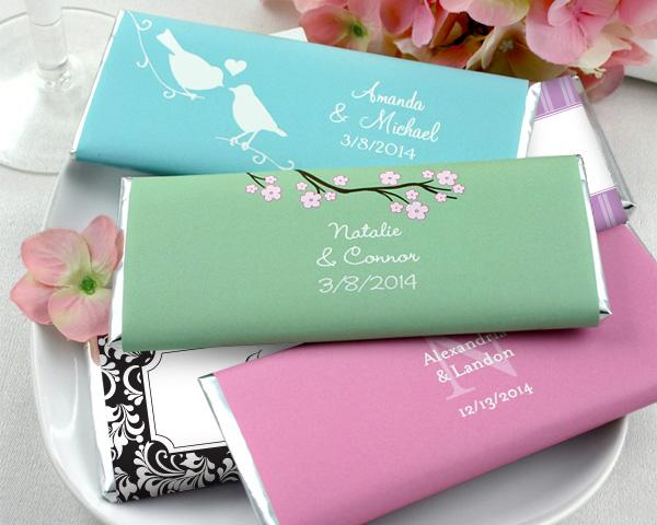 Chocolate bars with personalized wrappers