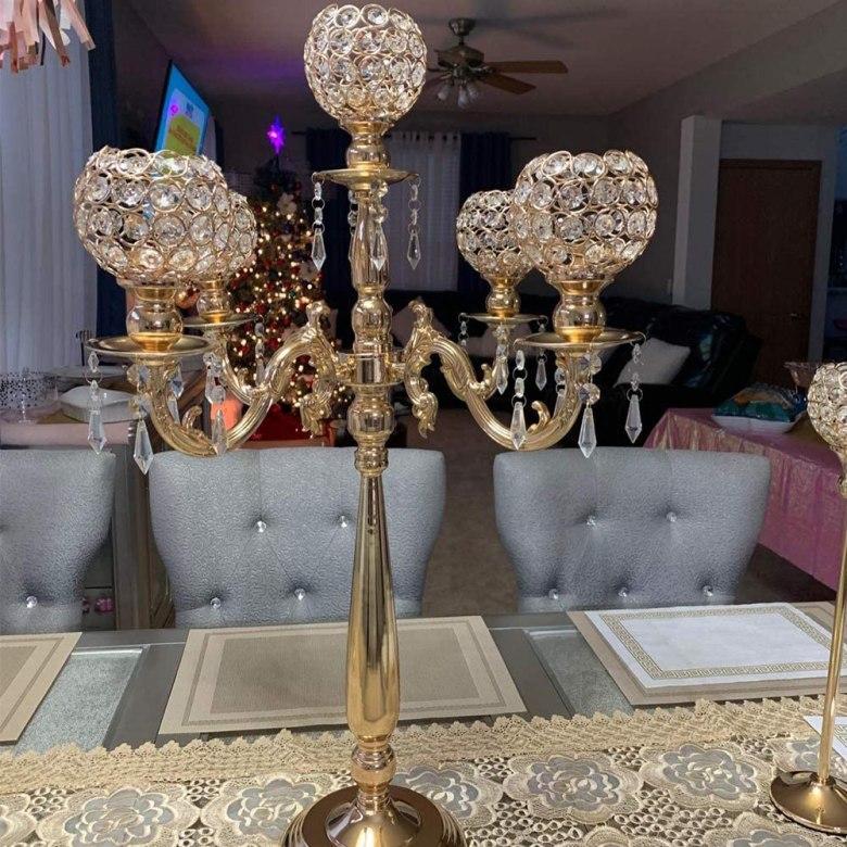 5 Arms Candelabra Elegant Wedding Centerpieces Gold