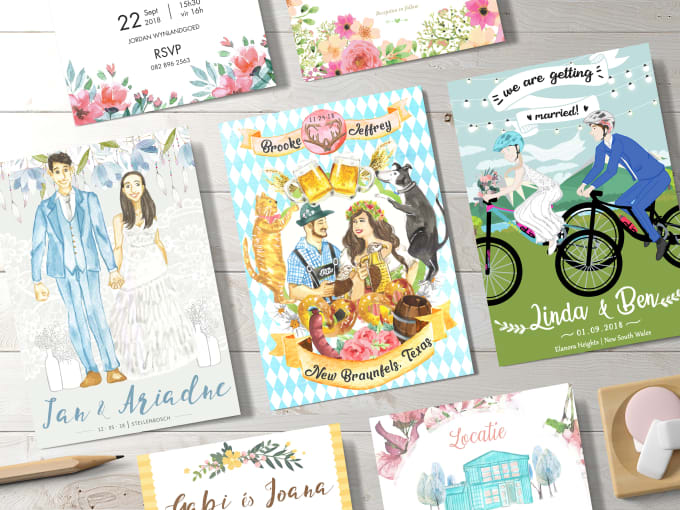 Illustrated wedding invitations is one of the wedding tasks to do on Fiverr