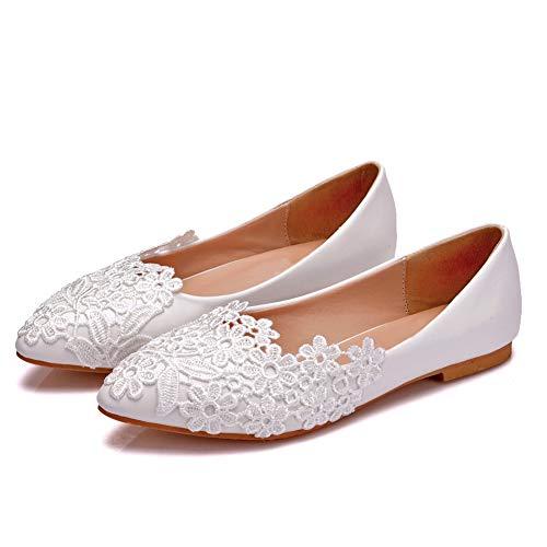 VINEIL Women's Handmade White Lace Wedding Shoes