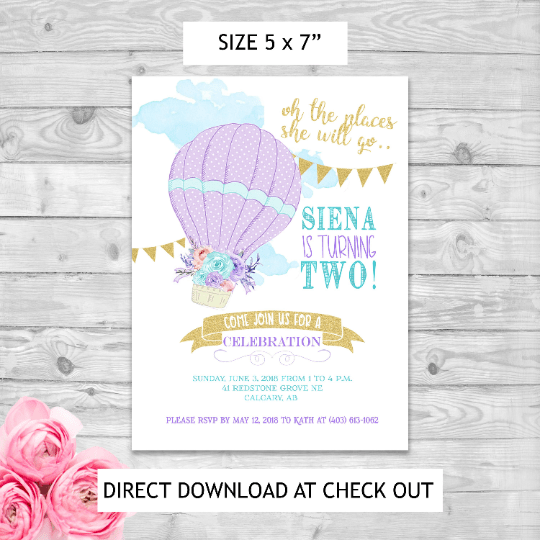 Instant Download Editable Pdf Print Yourself Hot Air Balloon Themed Birthday Invitation Memorable Creations Inc