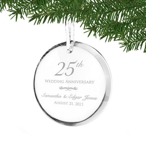 25th Wedding Anniversary Personalized Acrylic Ornament