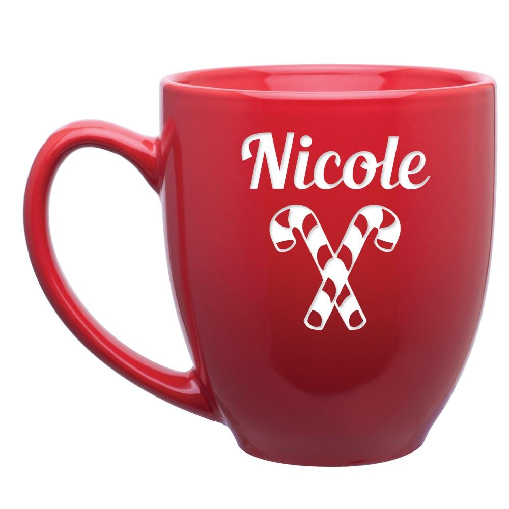 Personalized Red Ceramic Candy Cane Bistro Mug