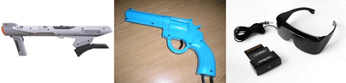Periféricos: bazuca, pistola e óculos 3D