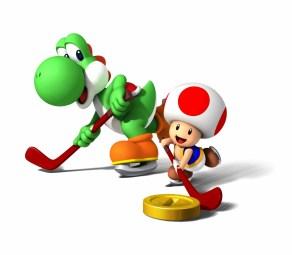 Yoshi e Toad jogando hockey