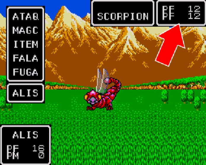 Grupo de scorpions em Phantasy Star